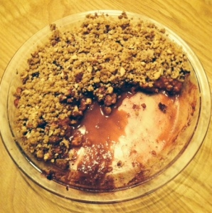 My homemade apple and berry crumble