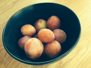 Homegrown plums from our tree